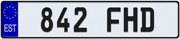 EEC Estonia License Plate
