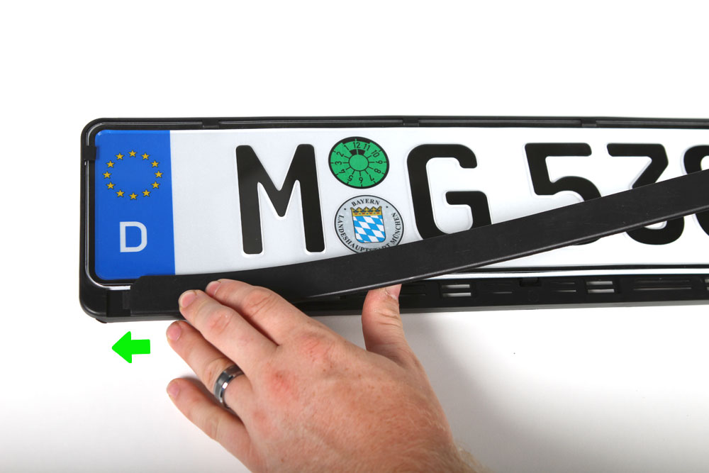 European license plate cover installation
