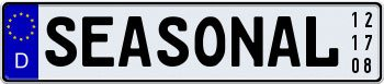 Seasonal German License Plate with Custom Date