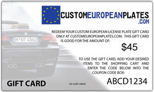 $45 Gift Card good for Custom Euro Plate & Frame