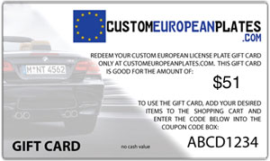 Custom License Plate, Frame & 1 Accessory Gift Card