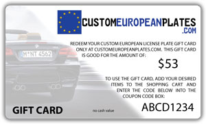 $53 Gift Card good for Custom Euro Plate & Frame