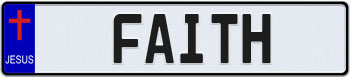 Jesus Cross Euro Style License Plate