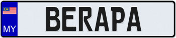 Malaysia Euro Style License Plate