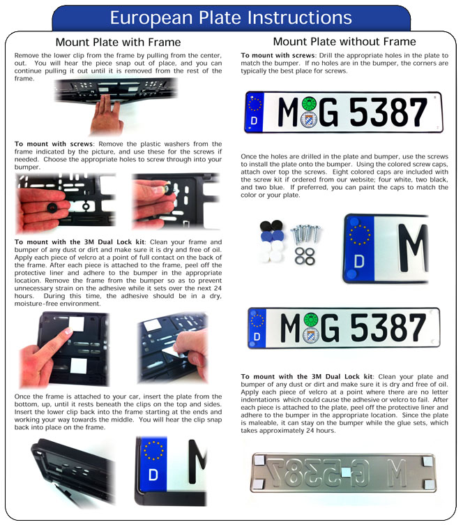 European License Plates Mounting Instructions