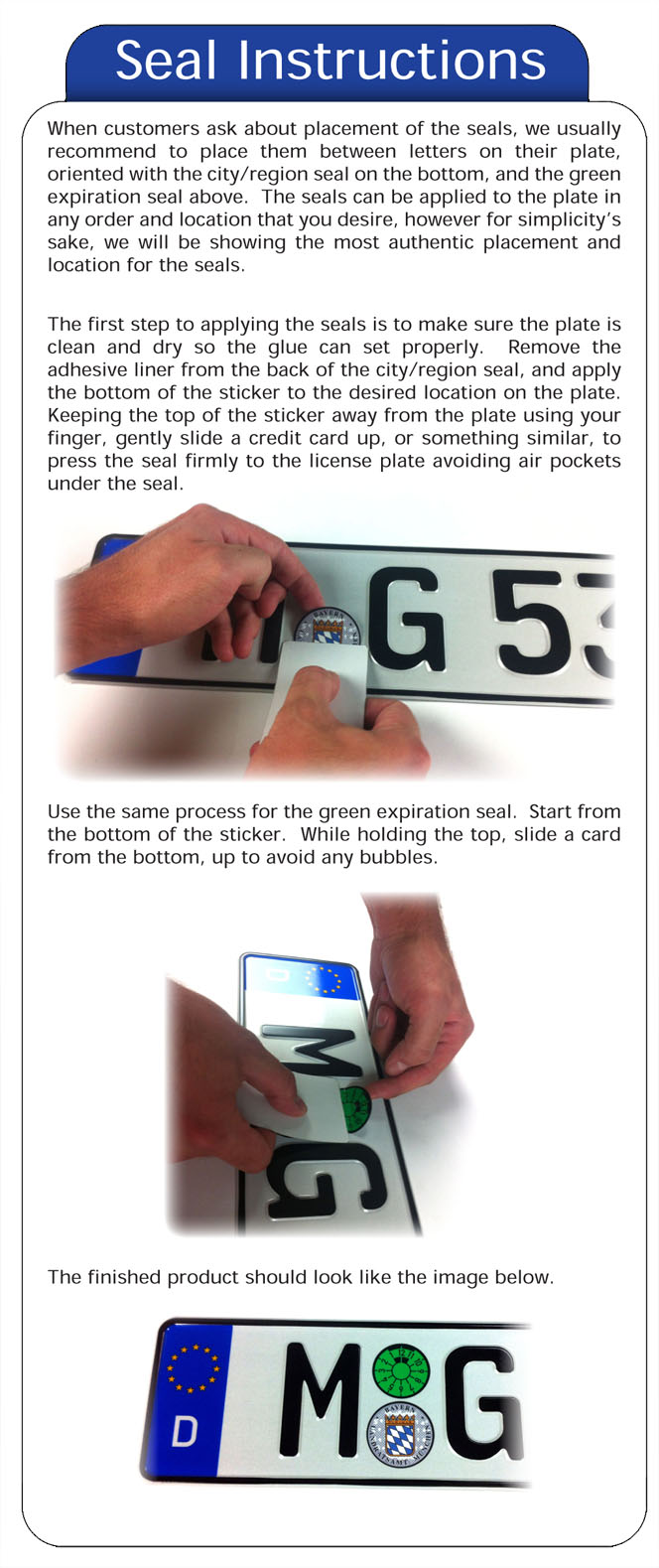 Custom European License Plate Registration Seal Mounting Instructions
