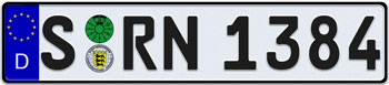 EEC German License Plate - Home of Porsche