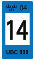 Sweden Blue 14 Registration Seal
