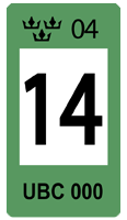 Sweden Green 14 Registration Seal