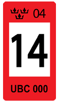 Sweden Red 14 Registration Seal