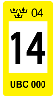 Sweden Yellow 14 Registration Seal